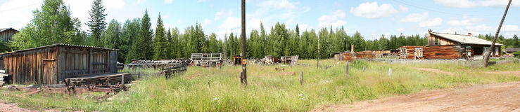 Panorama the destroyed houses Royalty Free Stock Images