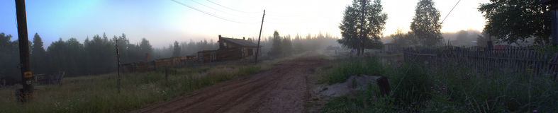Panorama the destroyed houses. In the Siberian village Royalty Free Stock Photos