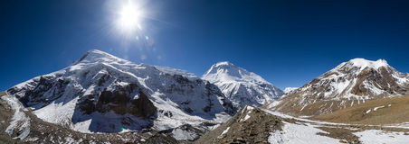 Panorama of the Dhaulagiri Mount Himalayas. Panorama of high mountains peaks in Himalayas. Names of the mountains left to right: Sita Chuchura 6611 m, Dhaulagiri stock image