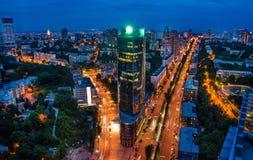 Panorama di affari di notte di Kiev Immagini Stock Libere da Diritti