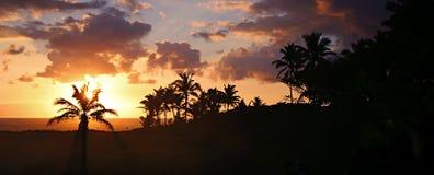 Panorama di alba della spiaggia di Hawaian Fotografia Stock Libera da Diritti