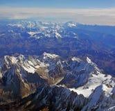 Panorama di Arial delle alpi europee in autunno Immagine Stock