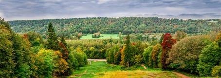 Panorama di autunno di paesaggio lettone Fotografie Stock Libere da Diritti