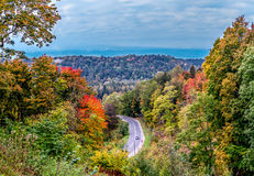 Panorama di autunno di paesaggio lettone con la strada Immagini Stock Libere da Diritti