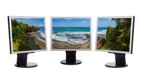 Panorama di Bali Indonesia la mia foto sui monitor del computer Fotografia Stock