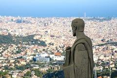 Panorama di Barcellona dal cuore di Sagrat Fotografia Stock Libera da Diritti