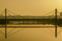 Panorama di Belgrado dal fiume Sava immagini stock