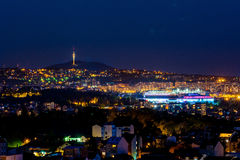 Panorama di Belgrado di notte Immagini Stock