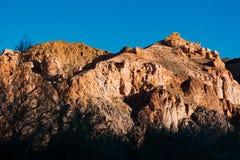 Panorama di bello paesaggio con le catene montuose nel Kazakistan Fotografia Stock Libera da Diritti