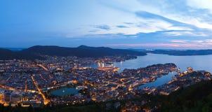 Panorama di Bergen Norway Fotografia Stock Libera da Diritti