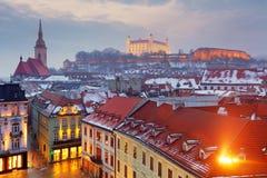 Panorama di Bratislava - città dell'Europa Orientale - della Slovacchia Fotografia Stock Libera da Diritti