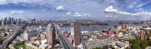 Panorama di Brooklyn, di Manhattan e delle regine Immagini Stock Libere da Diritti