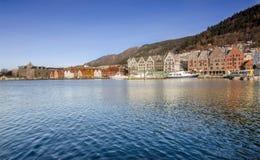Panorama di Bryggen Fotografia Stock Libera da Diritti