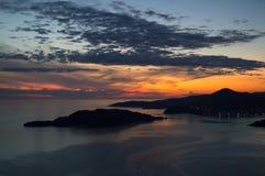 Panorama di Budua Riviera visto da Sveti Stefan Lookout Point Immagine Stock Libera da Diritti