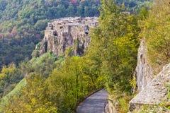Panorama di Calcata, Italia. Fotografia Stock Libera da Diritti