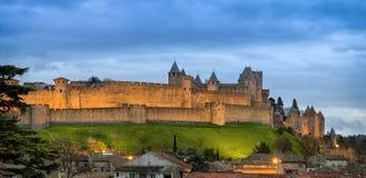 Panorama di Carcassonne al crepuscolo, la Francia Immagini Stock Libere da Diritti