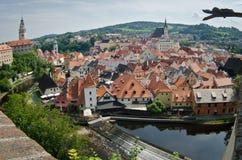 Panorama di Cesky Krumlov fotografie stock libere da diritti
