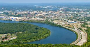 Panorama di Chattanooga, Tennessee dalla montagna dell'allerta Immagine Stock Libera da Diritti