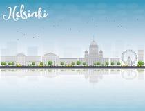 Panorama di Città Vecchia a Helsinki con le riflessioni, Finlandia illustrazione vettoriale