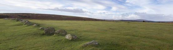 Panorama di Dartmoor con i massi Fotografia Stock