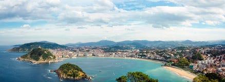 Panorama di Donostia San Sebastian Fotografia Stock Libera da Diritti