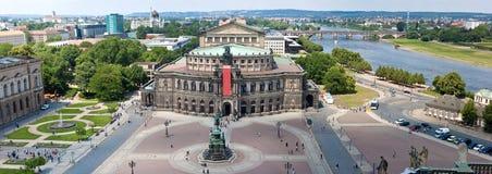 Panorama di Dresda, Teatro dell'Opera di Semper, Fotografie Stock Libere da Diritti