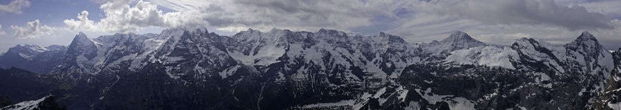 Panorama di Eiger, Moench, Jungfrau Immagine Stock