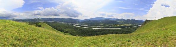 Panorama di estate del fiume di Katun altai Immagini Stock