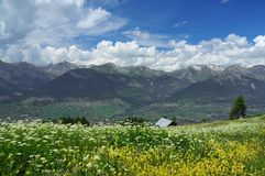 Panorama di estate delle alpi svizzere Fotografie Stock Libere da Diritti