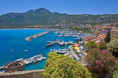 Panorama di estate di Calvi, Corsica Fotografia Stock