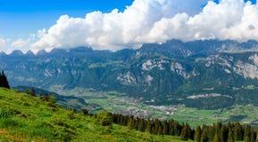 Panorama di Flums dal Kleinberg fotografie stock libere da diritti