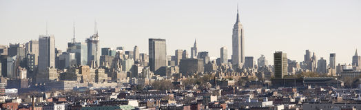 Panorama di giorno di Manhattan Fotografie Stock Libere da Diritti