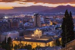 Panorama di Granada al tramonto Fotografie Stock