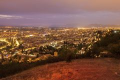 Panorama di Granada al tramonto Fotografia Stock