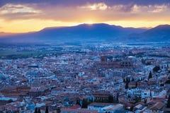 Panorama di Granada al tramonto Immagini Stock Libere da Diritti