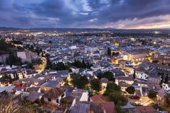 Panorama di Granada al tramonto Immagine Stock Libera da Diritti