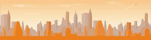 Panorama di grande città Fotografie Stock Libere da Diritti