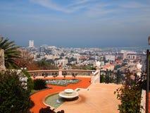 Panorama di Haifa Israel dal giardino del ` i di Baha Immagini Stock Libere da Diritti