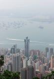 Panorama di Hong Kong da Victoria Gap, vicino alla cima di Victori immagine stock