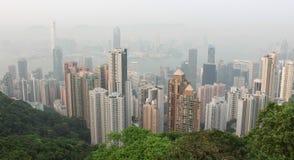 Panorama di Hong Kong da Victoria Gap, vicino alla cima di Victori immagini stock libere da diritti
