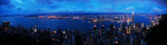 Panorama di Hong Kong - vista di notte Fotografia Stock