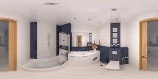 panorama 360 di interior design del bagno Immagine Stock