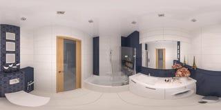 panorama 360 di interior design del bagno Fotografie Stock Libere da Diritti