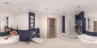 panorama 360 di interior design del bagno Fotografia Stock