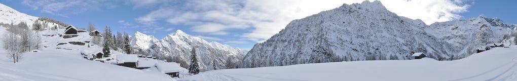 Panorama 2 di inverno delle alpi di Alagna Fotografia Stock Libera da Diritti
