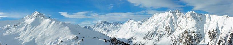 Panorama di inverno delle alpi di Silvretta (Austria) Fotografia Stock Libera da Diritti