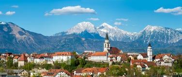 Panorama di Kranj, Slovenia, Europa Immagini Stock