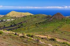 Panorama di Lanzarote, villaggio di Haria, valle delle mille palme Fotografia Stock