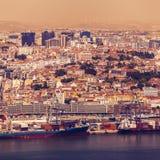 Panorama di Lisbona dal santuario nazionale di Cristo il re fotografia stock