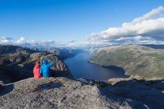 Panorama di Lysefjord, Norvegia fotografia stock libera da diritti